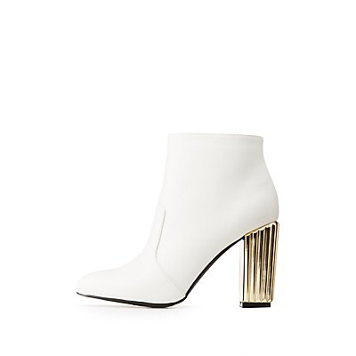 Qupid Metallic Heel Ankle Booties