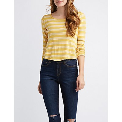 Striped & Ribbed Knotted Tee
