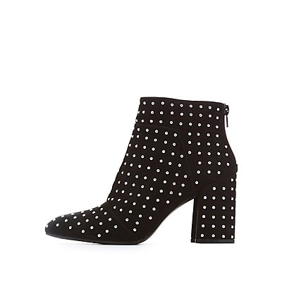 Qupid Studded Faux Suede Ankle Booties