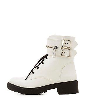 Qupid Buckled Lug Sole Combat Boots