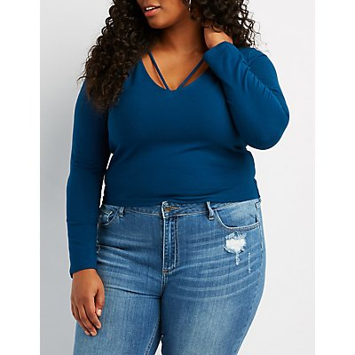 Plus Size Strappy Cut-Out Tee