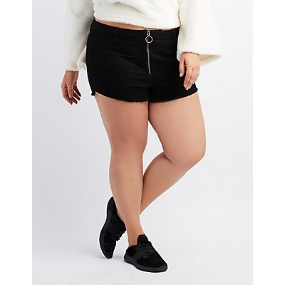 Plus Size Refuge Hi-Rise Zip-Up Cut-Off Shorts