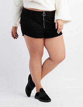 Plus Size Refuge Hi-Rise Zip-Up Cut-Off Shorts