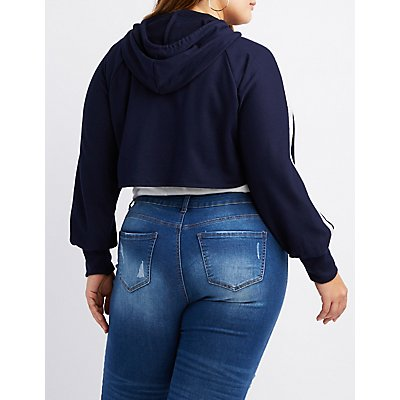 Plus Size O-Ring Cropped Zip-Up Hoodie