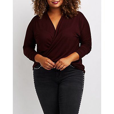 Plus Size Twist-Front Top