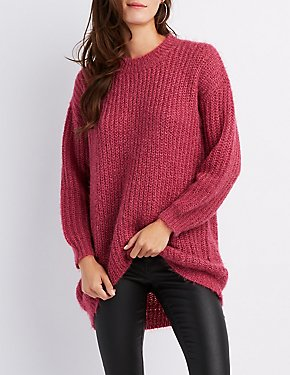 Fuzzy Crew Neck Pullover Sweater