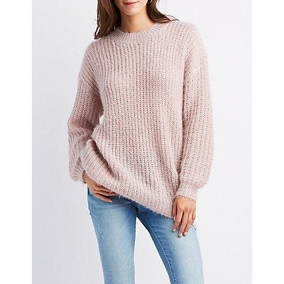 Fuzzy Crew Neck Pullover Sweater