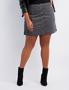Plus Size Corduroy Button-Up Skirt