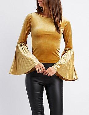 Velvet Pleated Bell Sleeve Top