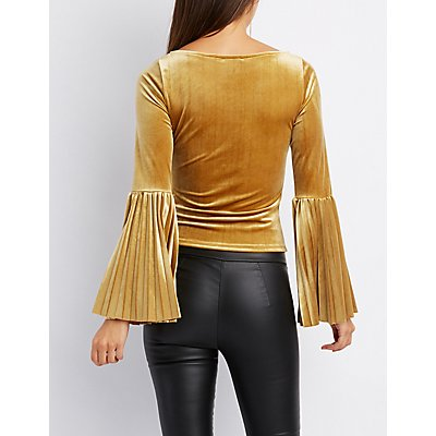 Velvet Pleated Bell Sleeve Top