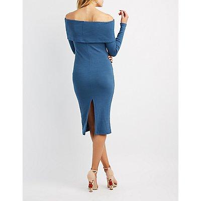Ribbed Knit Midi Dress