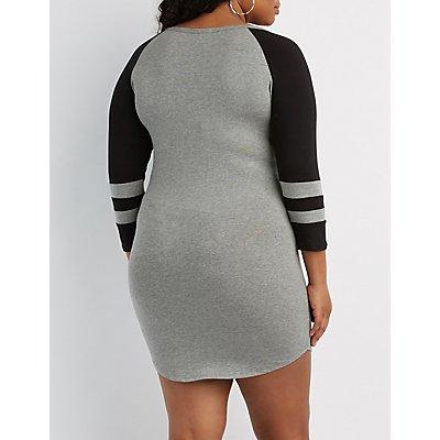 Plus Size Varsity Stripe Lattice-Front Bodycon Dress