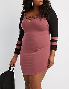 Plus Size Varsity Stripe Lattice-Front Bodycon Dress