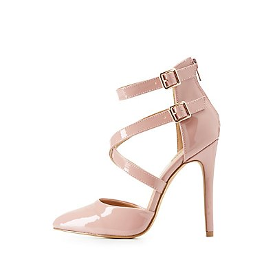 Cross Strap Pointed Toe Pumps