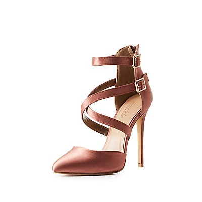 Satin Strappy Caged Dress Sandals