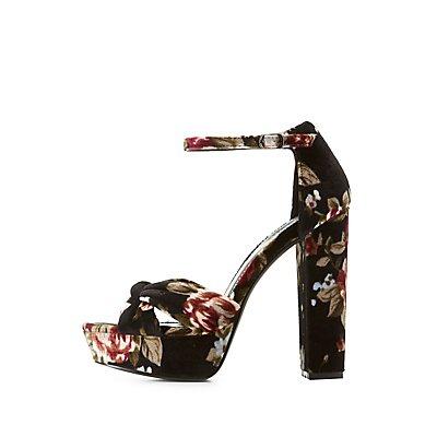 Floral Velvet Ankle Strap Platform Sandals