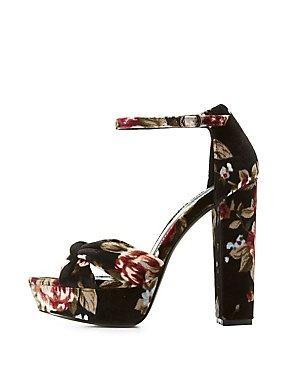 Floral Velvet Two-Piece Platform Sandals
