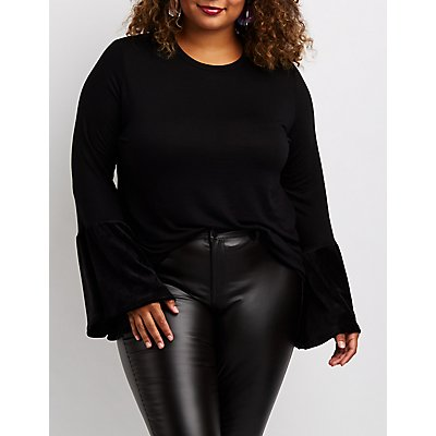 Plus Size Velvet Bell Sleeve Top