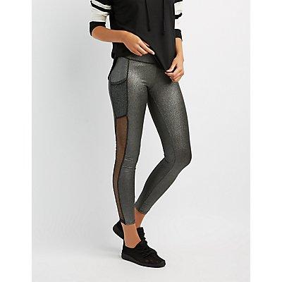 Metallic Mesh Inset Leggings