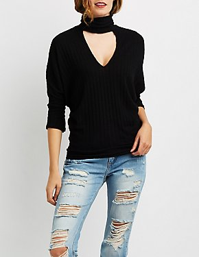 Ribbed Hacci Mock Neck Cut-Out Top