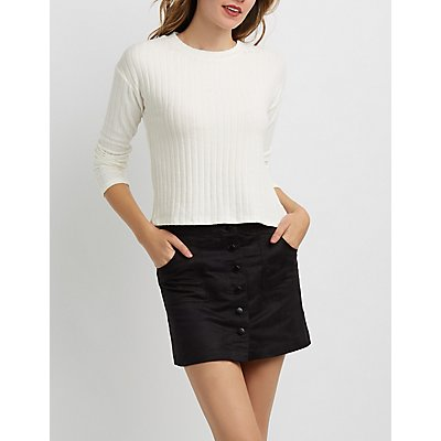 Ribbed Hacci Knit Crew Neck Top