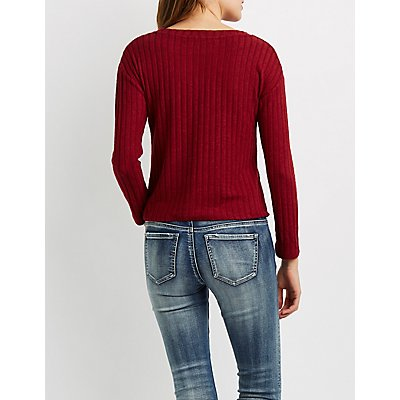 Ribbed Knit Crew Neck Top