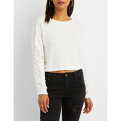 Ruched Hacci Knit Top