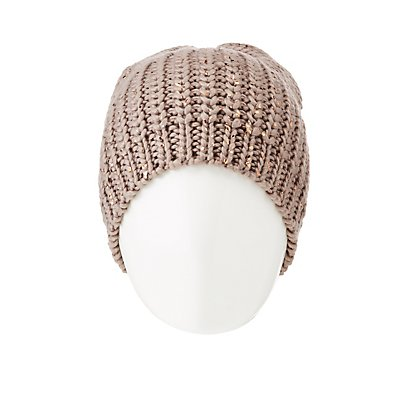 Metallic Polka Dot Chunky Knit Beanie
