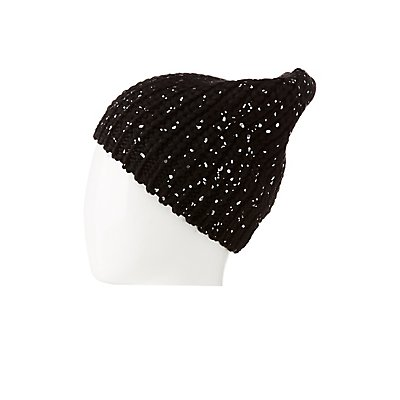 Platter Metallic Ribbed Knit Beanie