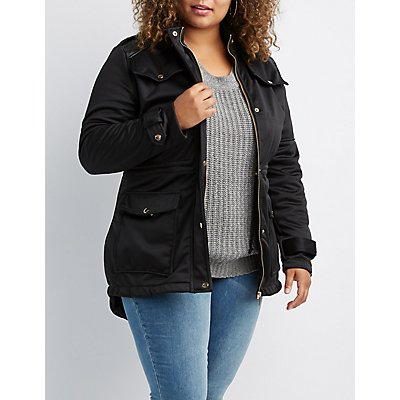 Plus Size Anorak Faux Leather Accented Jacket