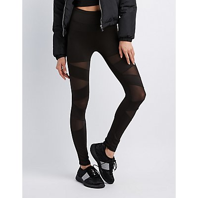 High-Rise Mesh Panel Leggings