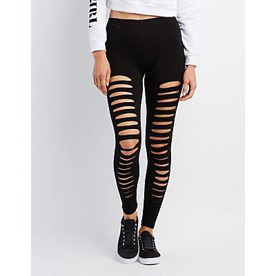 Slashed Stretchy Leggings