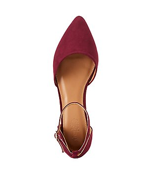 Faux Suede Pointed Toe D'Orsay Flats