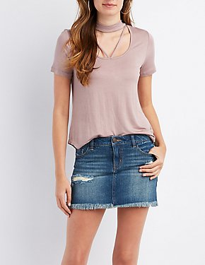 Strappy Choker Neck Tee