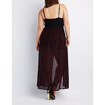 Plus Size Flocked Velvet Maxi Romper