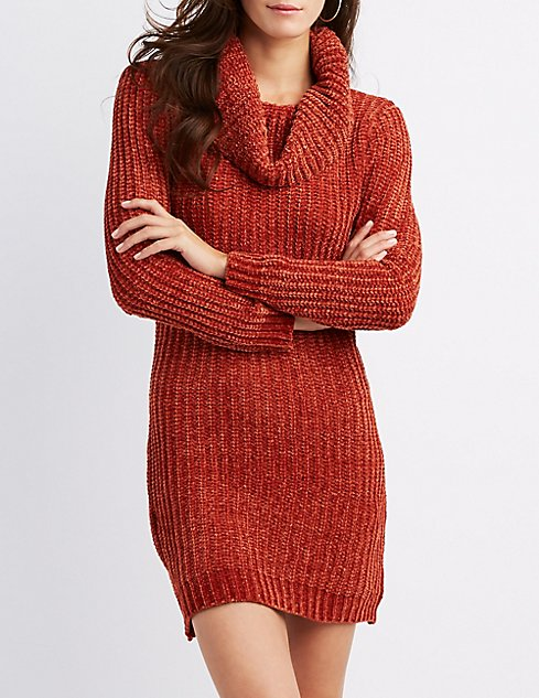 Chenille Cowl Neck Sweater Dress Charlotte Russe