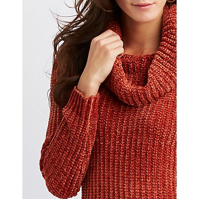 Chenille Cowl Neck Sweater Dress