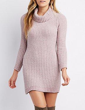 Chenille Cowl Neck Sweater Dress