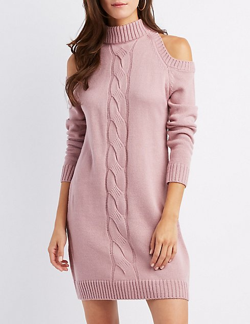 a4eb47ef96 Cable Knit Cold Shoulder Sweater Dress