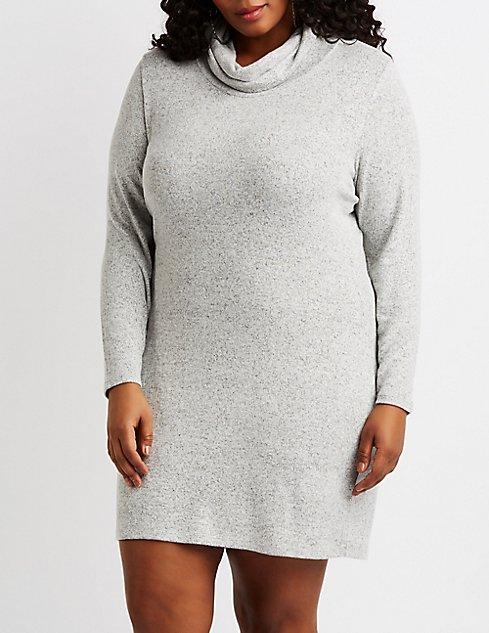 Plus Size Hacci Knit Cowl Neck Sweater Dress Charlotte Russe