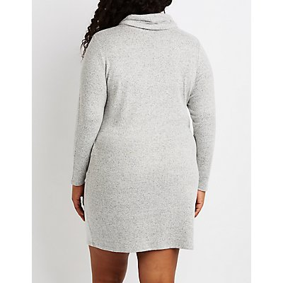 Plus Size Hacci Knit Cowl Neck Sweater Dress