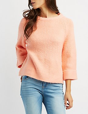 Shaker Stitch Cropped Sweater
