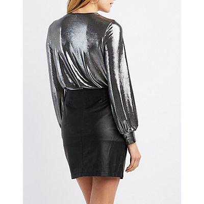 Metallic Surplice Bodysuit