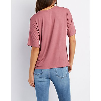 Ribbed Lattice Cut-Out Tee