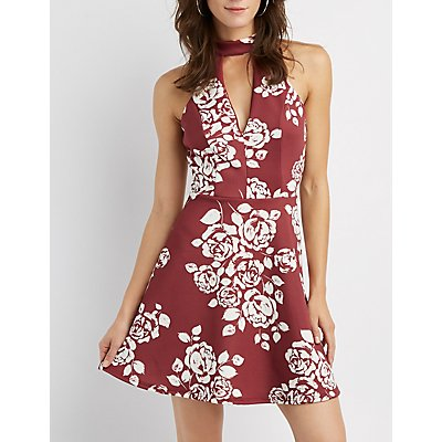Floral Cut-Out Skater Dress