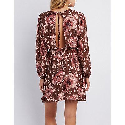 Floral Open-Back Skater Dress