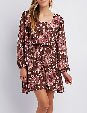 Floral Open-Back Skater Dress