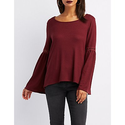 Waffle Knit Bell Sleeve Top
