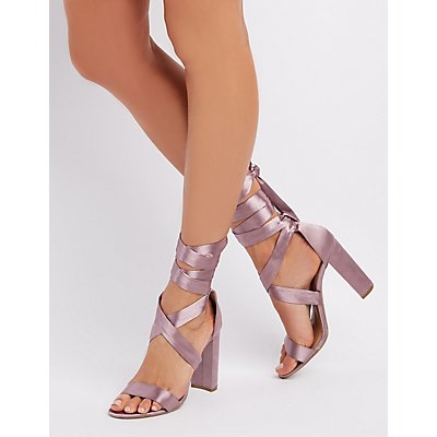 Satin Ankle Wrap Sandals