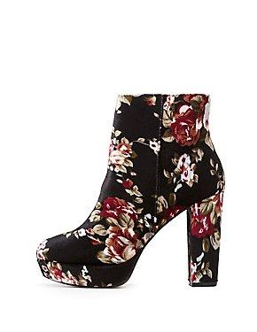 Floral Velvet Platform Ankle Booties
